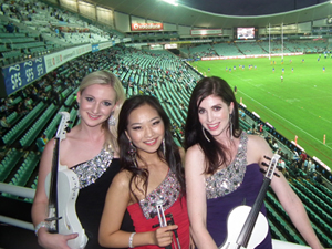 String Diva perform in the Chairman's Club for Waratahs Rugby fans