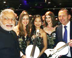 String Diva with Prime minister Abbott and Prime Minister Modi